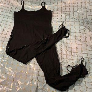 Black catsuit lace up one piece